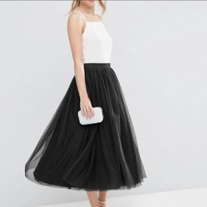 Asos Plus Size Layer Tulle Skirt Black Size 14